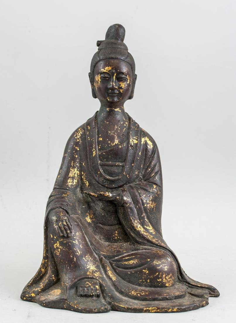 Chinese Gilt Bronze Worshipper Statue Wanli Mark