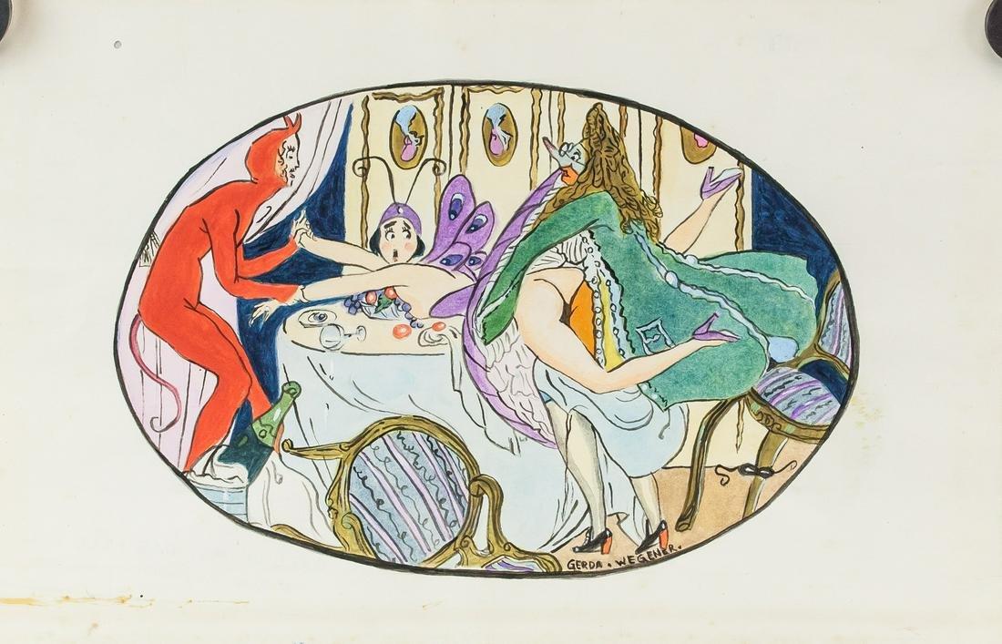 Gerda Wegener Danish Art Deco Watercolor on Paper