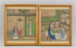 Pair Framed Chinese Watercolor on Paper