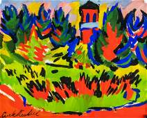 German Expressionist Oil Gouache Signed Illegibly