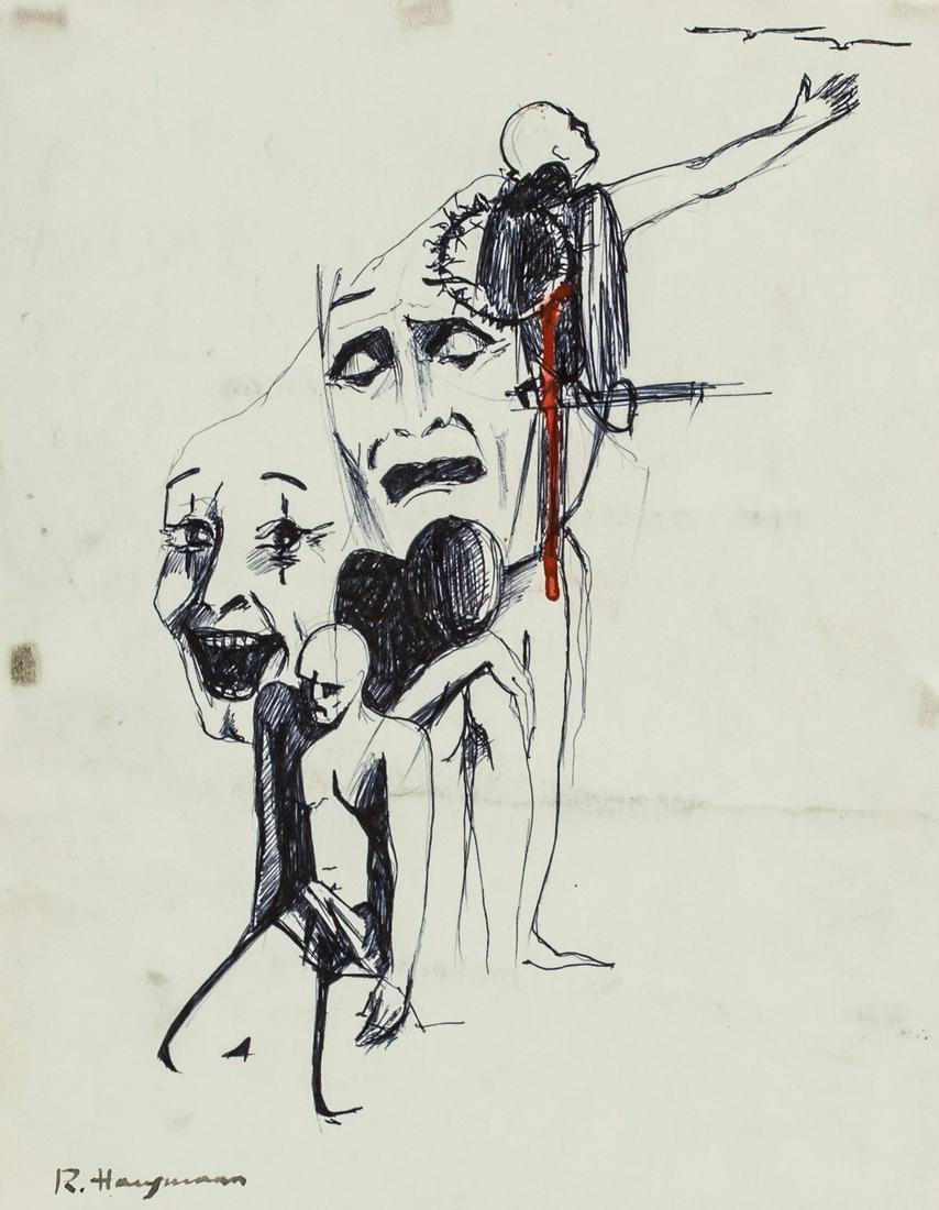 Raoul Hausmann Austrian Modernist Ink on Paper