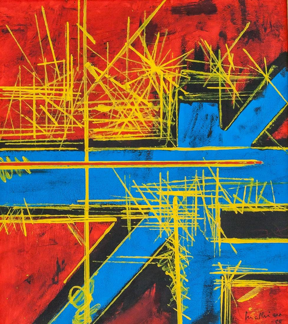 Georges Mathieu French Abstract Oil on Canvas '58