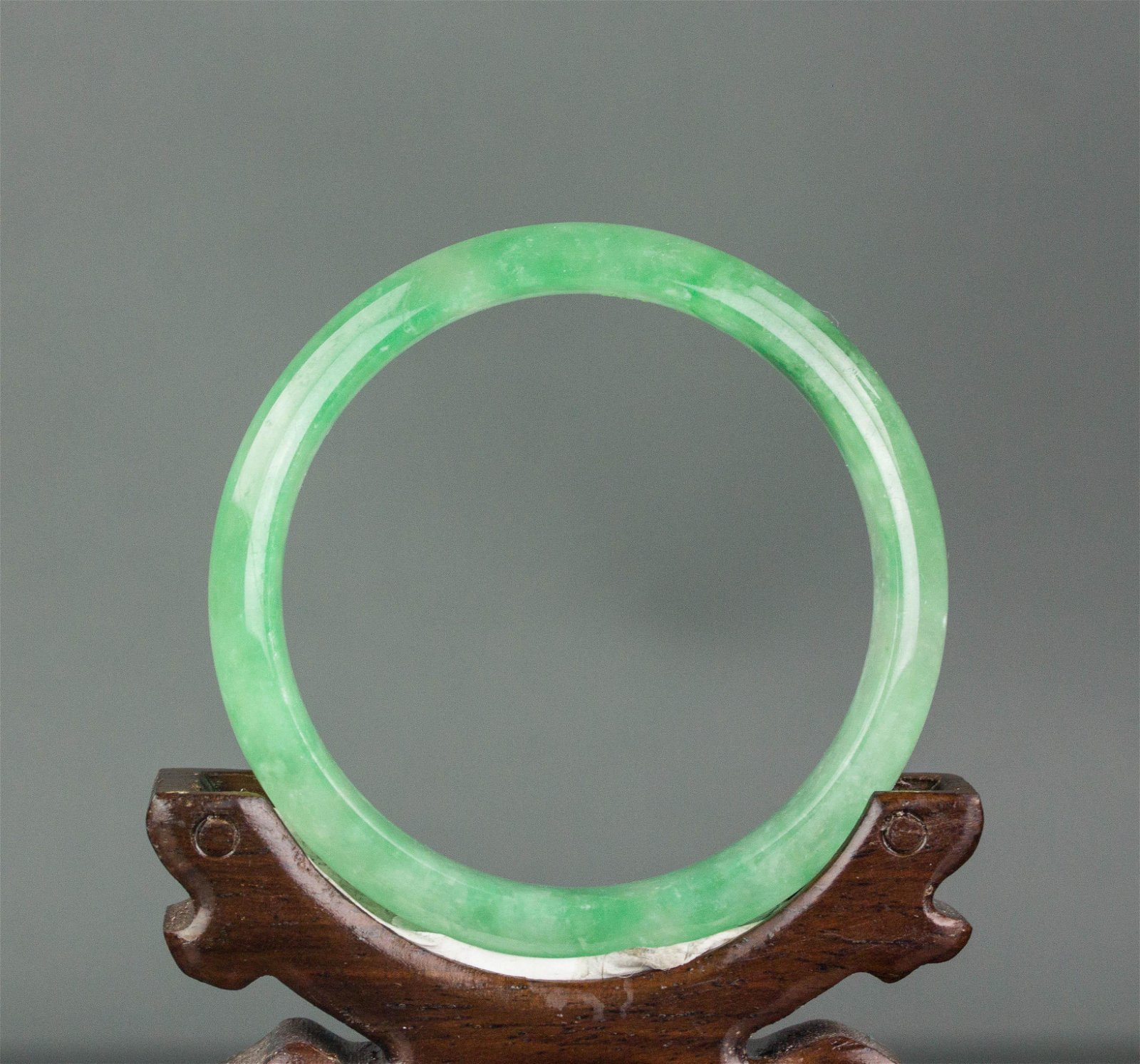 Burma Fine Green Jadeite Carved Bangle