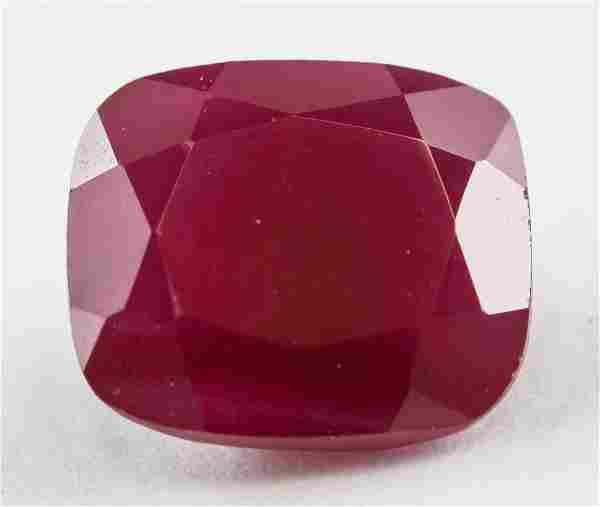 3.40ct Cushion Cut Blood Red Ruby Gemstone AGSL
