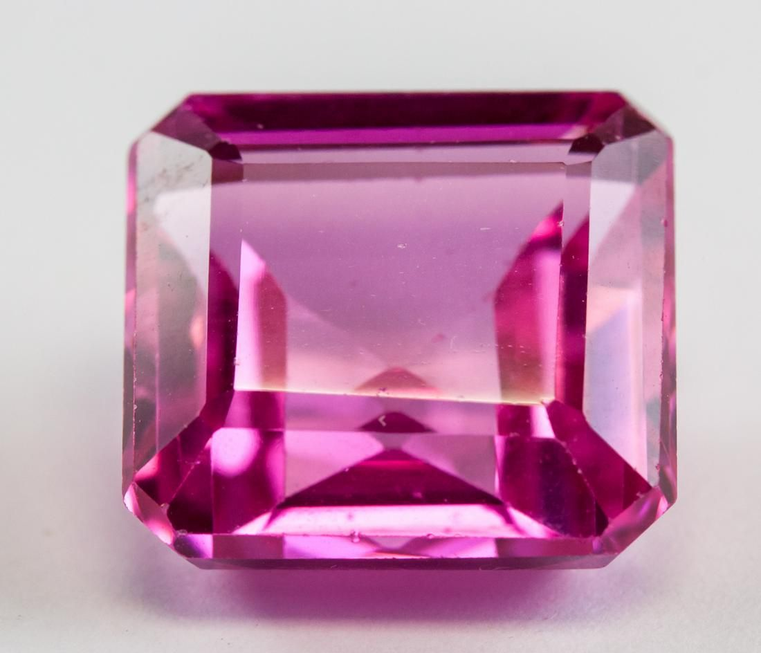 13.80ct Emerald Cut Pink Ruby Gemstone AGSL CERT
