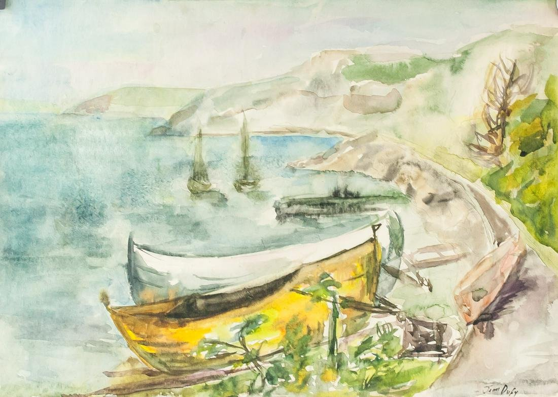 Jean Dufy French Modernist Watercolor on Paper