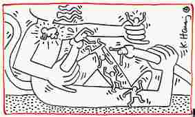 Keith Haring After American Pop Mixed Media on Paper