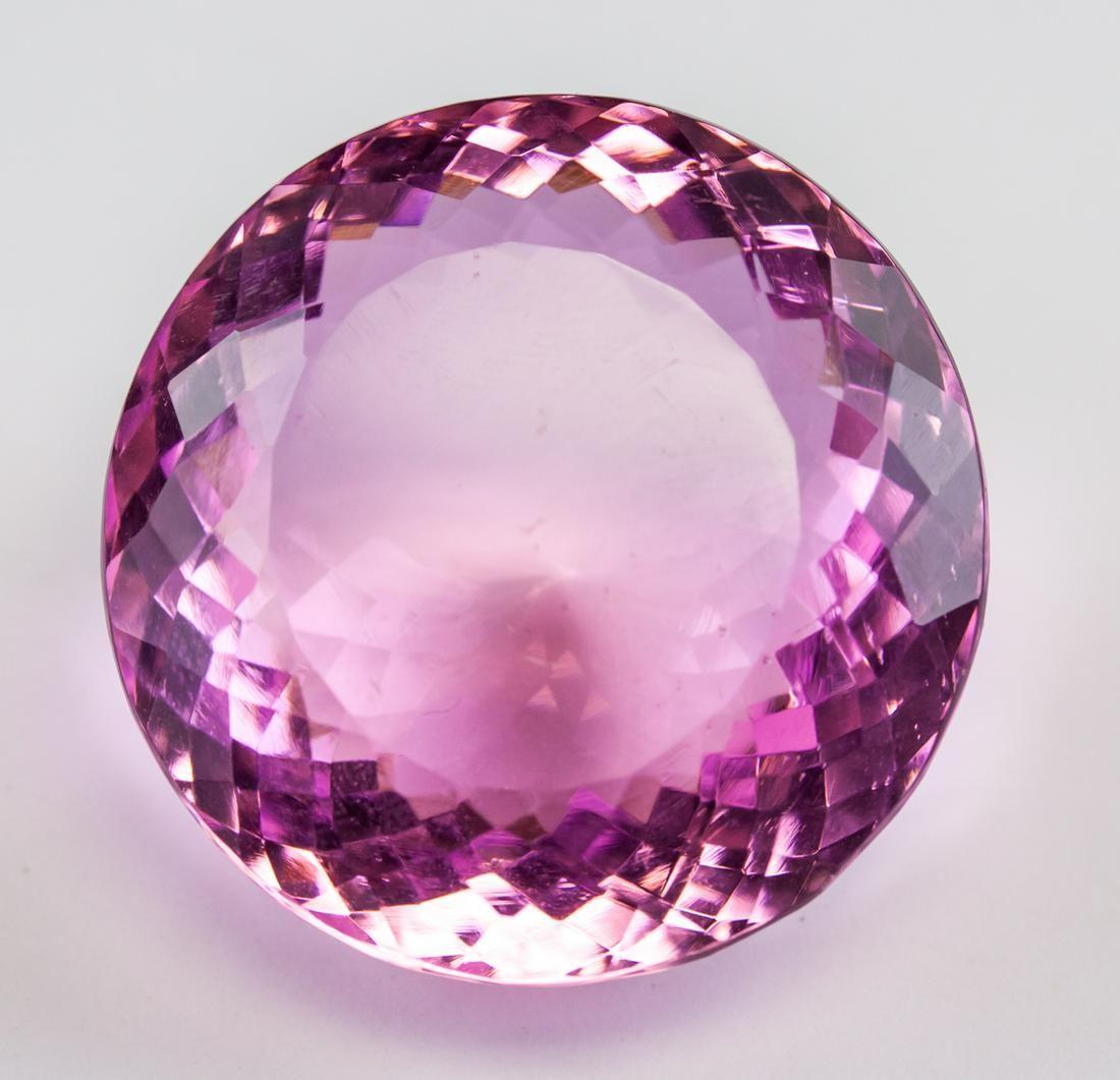 127.45ct Round Cut Pink Amethyst Gemstone GGL