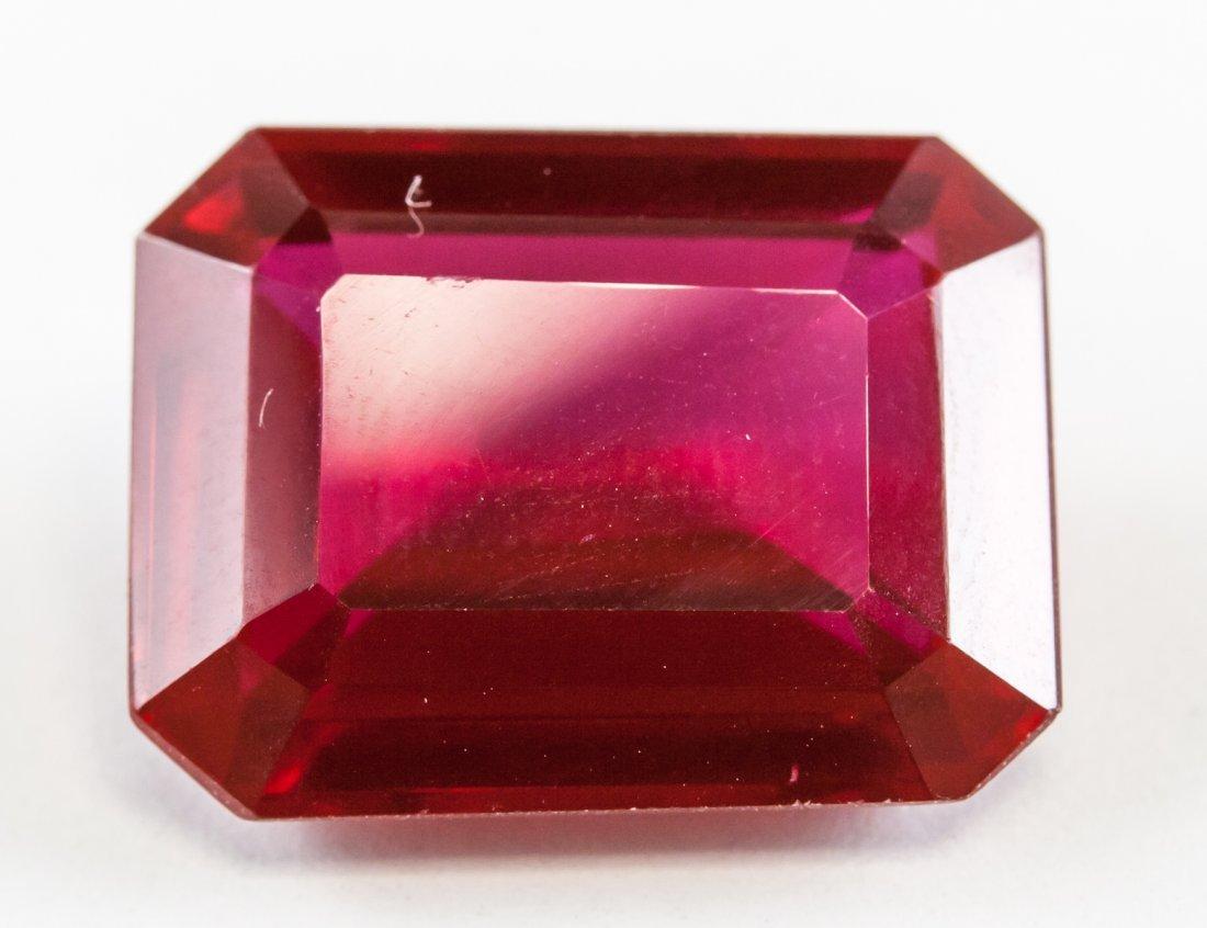 20.65ct Emerald Cut Blood Red Ruby Gemstone GGL