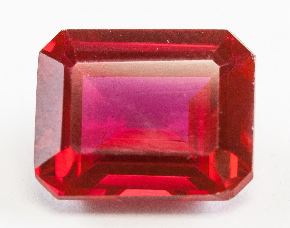 9.45ct Emerald Cut Red Ruby Gemstone GGL