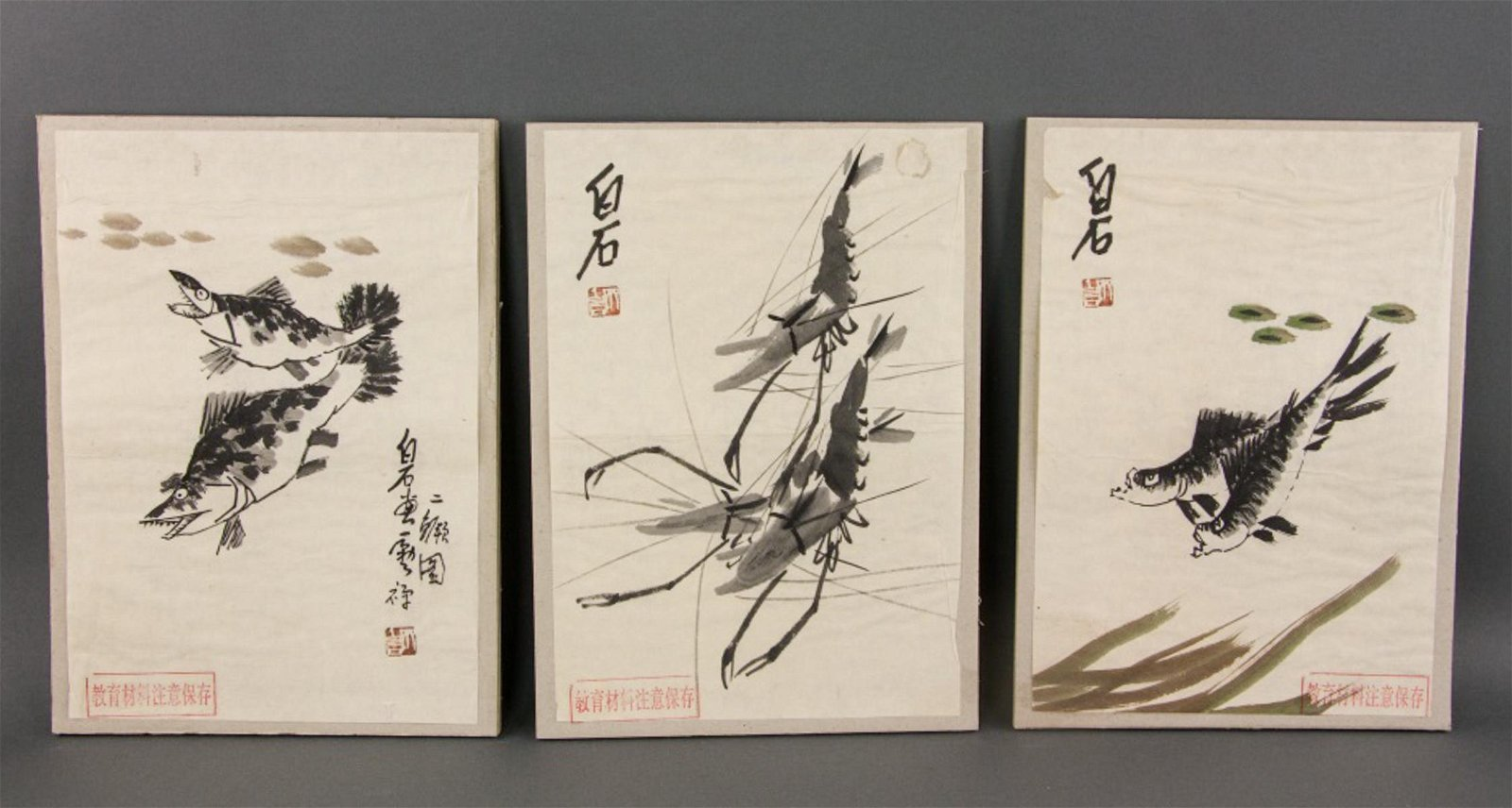 Qi Baishi Chinese 5 Watercolour on Paper Paintings