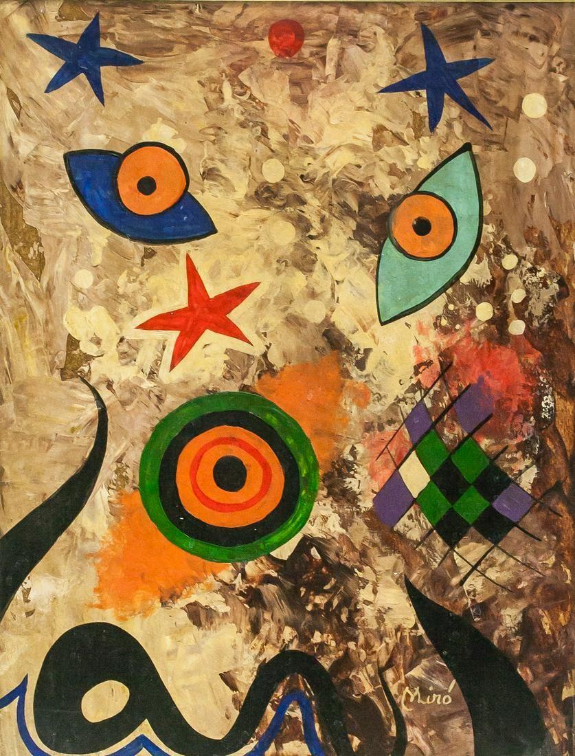 Joan Miro Spanish Mixed Media Stamped CHRISTIE'S