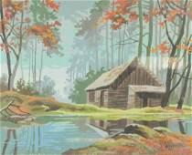 Berk Landscape Gouache on Board Dated '73
