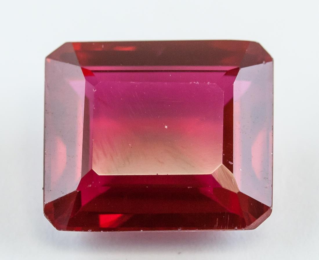 15.15ct Emerald Cut Red Ruby Gemstone AGSL