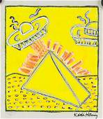 Keith Haring Manner of American Mixed Media