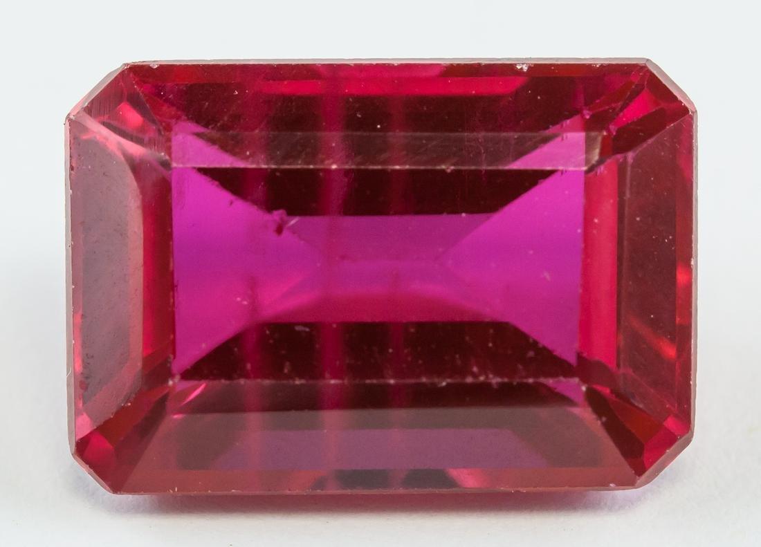13.70ct Emerald Cut Pinkish Red Ruby Gemstone GGL