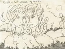 Tono Zancanaro Italian Modernist Charcoal Paper