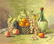 S Trolli Oil on Canvas Fruit Basket