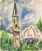 Adolf Hoelzel German Realist Watercolor/Board