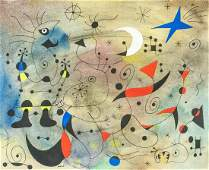 Joan Miro Spanish Surrealist Mixed Media 1940