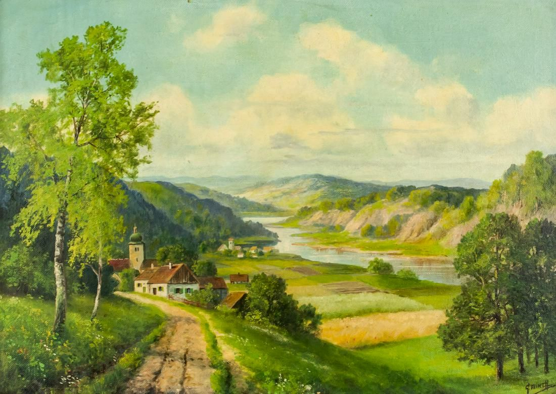 Oil on Board Landscape Signed G. WIRTH