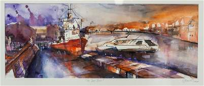 """Watercolor on Paper """"The Red Boat"""" Dated 2008"""