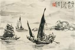 Li Xiongcai 1910-2001 Chinese Watercolor Boat Roll