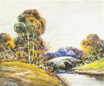 Alfred Sisley French Mixed Media & Pastel on Paper