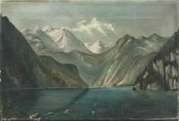 Framed Oil on Canvas Landscape Scene Unsigned