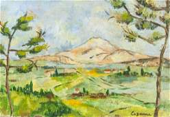 Antique French Oil on Board Signed Cezanne