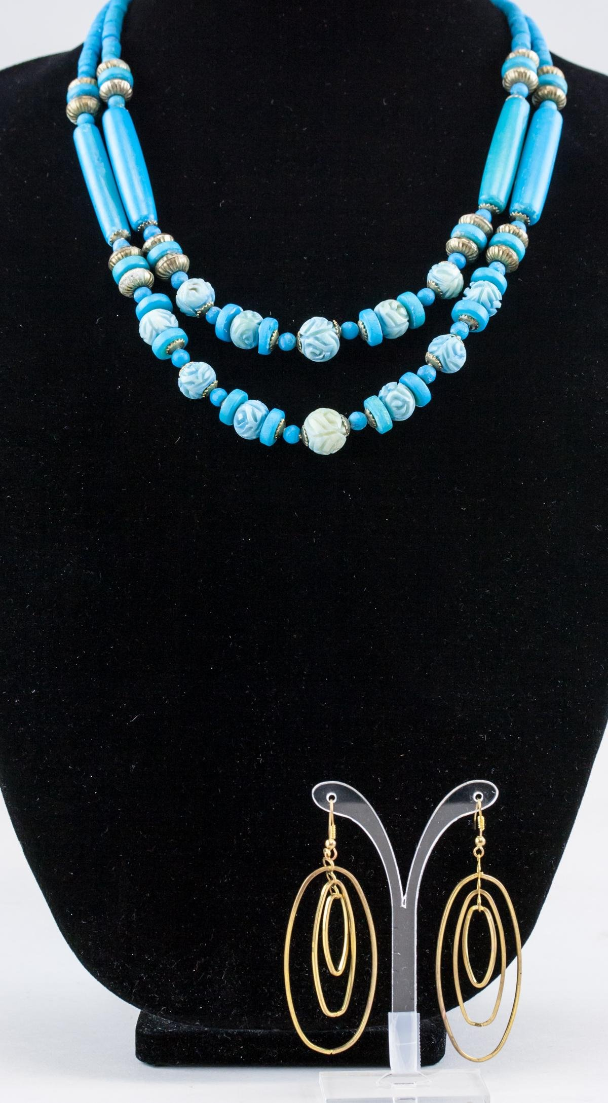 Chinese Copper Earrings & Turquoise Necklace