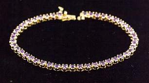 Natural Diamond Cut Amethyst Tennis Bracelet