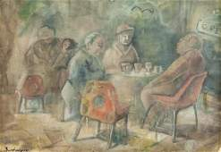 Sandor Bortnyik Hungarian Modernist Oil on Board
