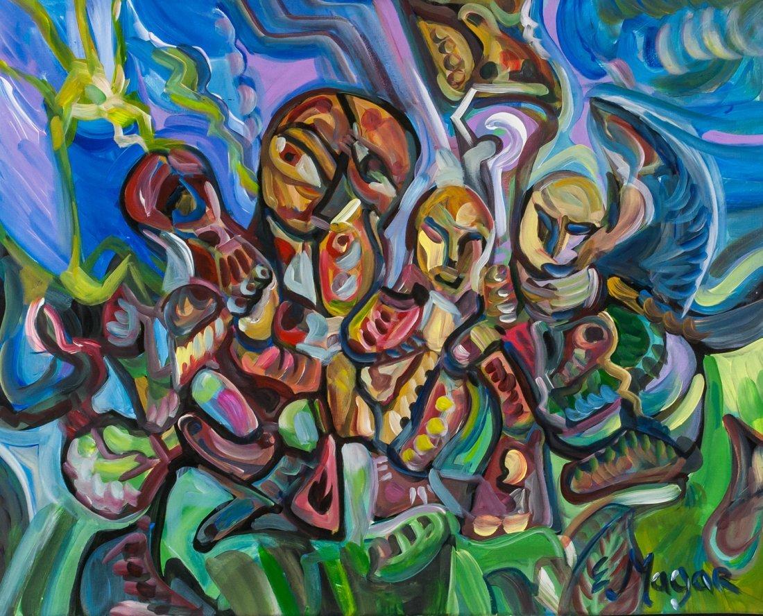 "Evan Magar ""Emotions II"" Oil and Acrylic on Canvas"