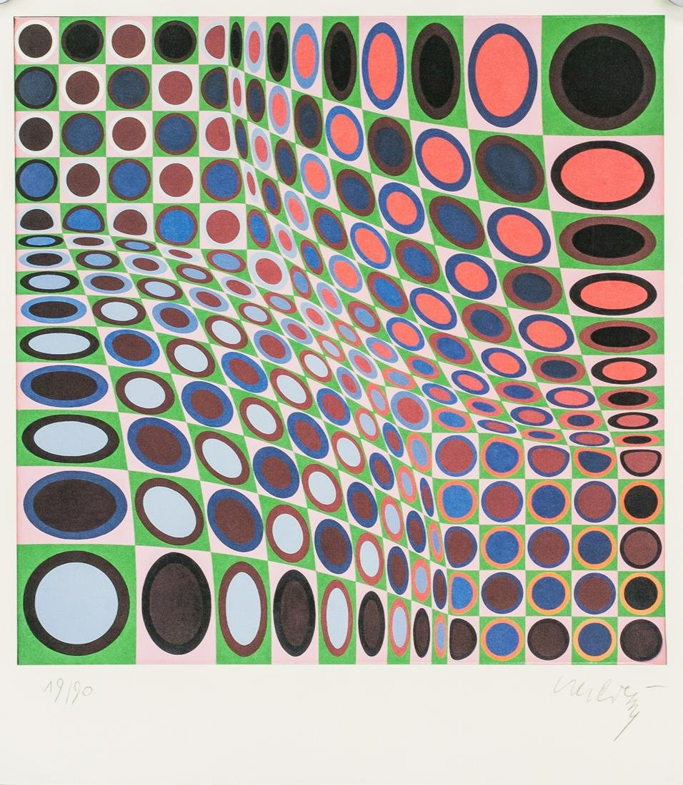 Victor Vasarely French Signed Litho on Paper 19/90