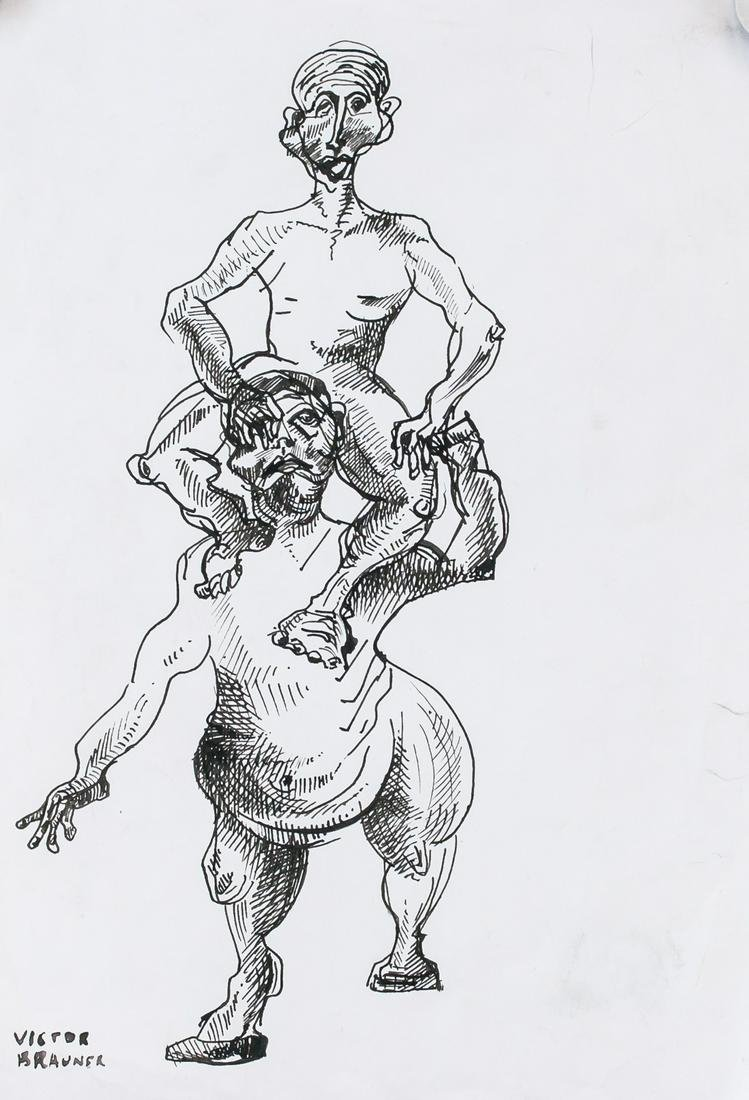 Victor Brauner Romanian Modernist Ink on Paper