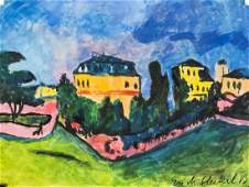 German Expressionist Oil on Paper Signed Illegibly