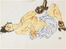 Egon Schiele Austrian Watercolor on Paper 1914