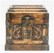 Chinese Huali Cabinet Box Carved Double Dragons