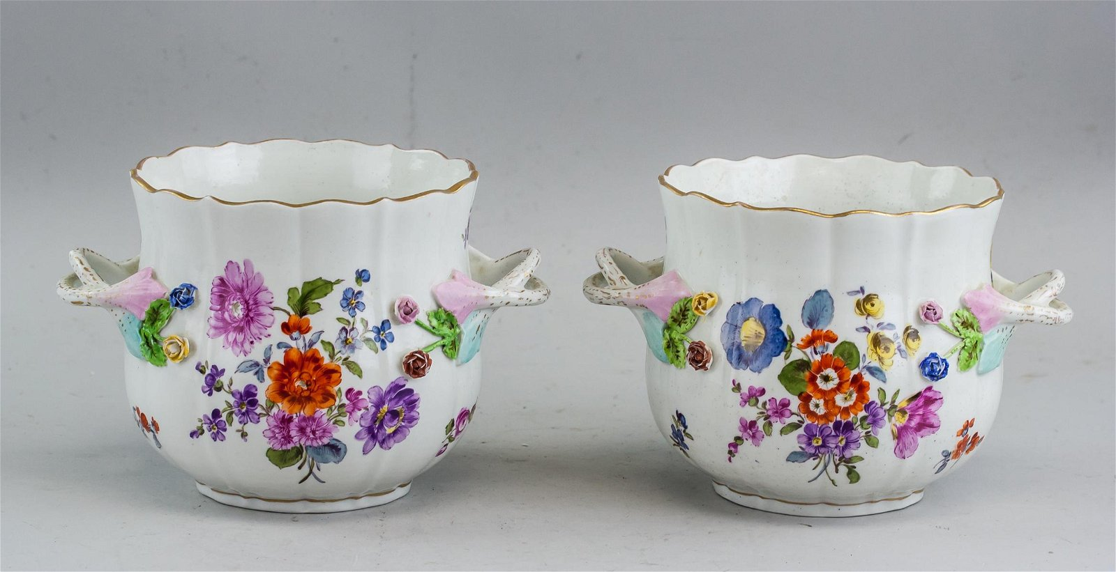 Pair of 18th C Meissen Flower Pot
