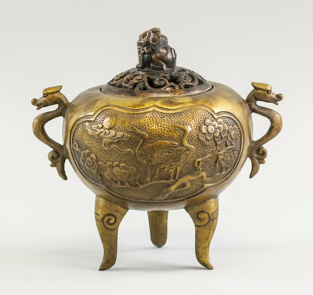 Chinese Bronze Censer with Lid Mark on Base