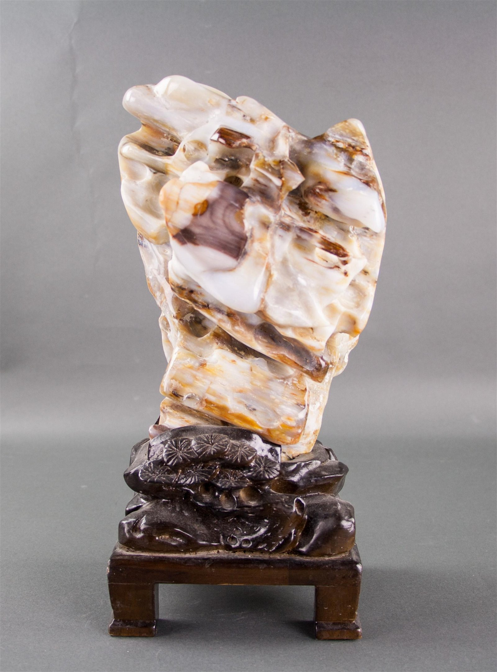 Chinese Fine Fossil Wood Scholar Stone with Stand