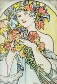 Alphonse Mucha Czech Art Nouveau Mixed Media/Paper