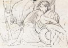 Diego Rivera Mexican Charcoal on Paper