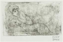 Egon Schiele Austrian Signed Linocut Etching 1881