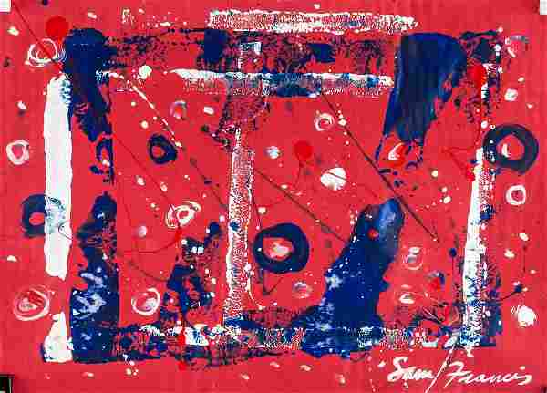 Sam Francis American Abstract Oil on Paper