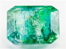 6.65ct Emerald Cut Green Natural Emerald GGL