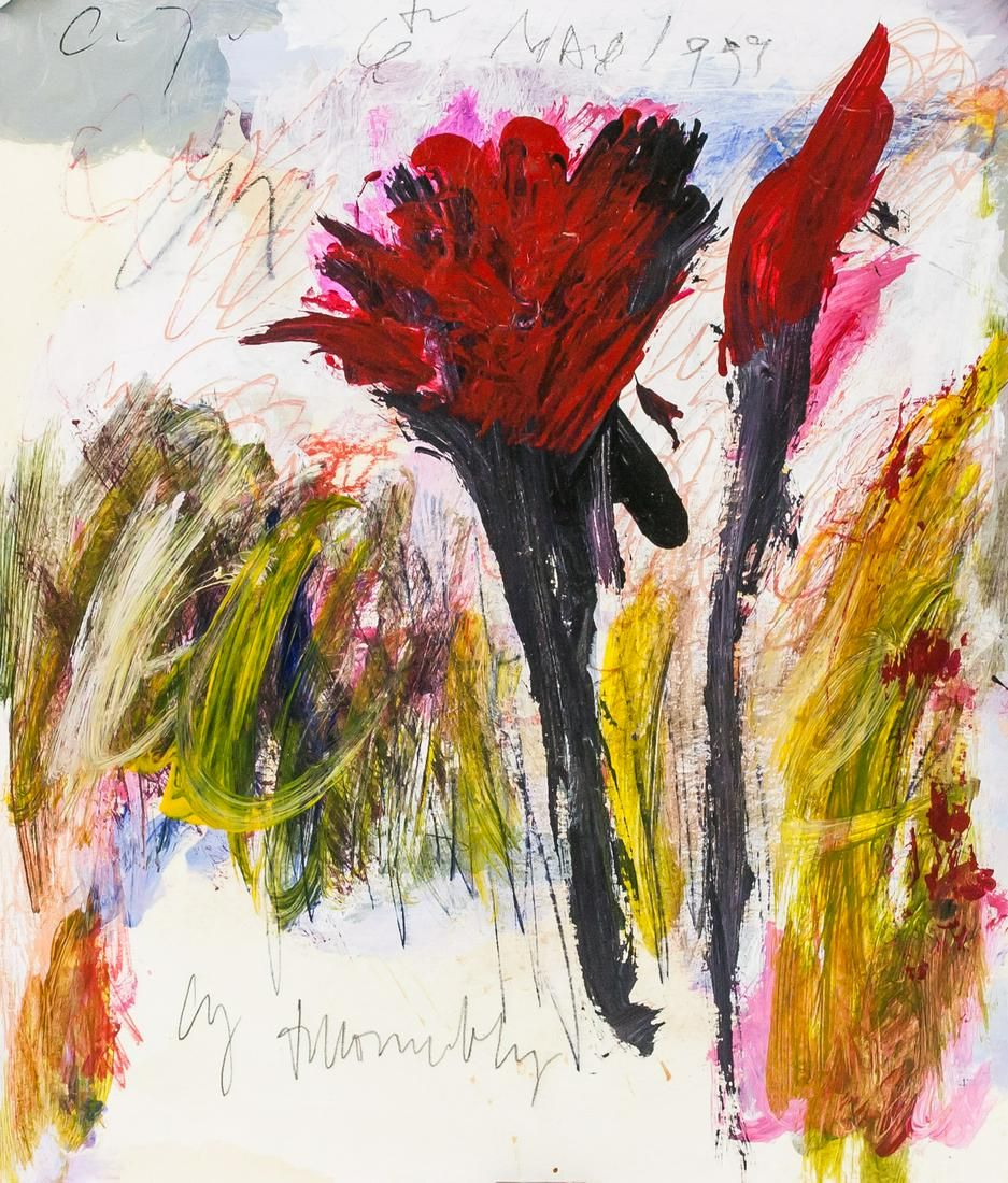 Cy Twombly American Abstract Mixed Media on Paper