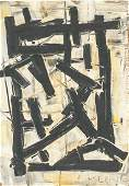 Franz Kline American Abstract Mixed Media on Board