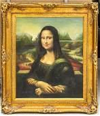 Gilt Framed Oil Canvas Italian Portrait Mona Lisa